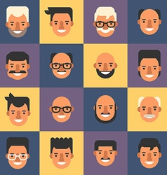 Set of flat design people avatar icons mens 16 vector