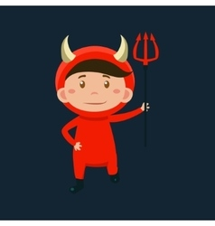 Boy in red devil haloween disguise vector