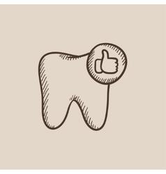 Healthy tooth sketch icon vector