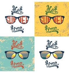 Set of four calligraphic summer backgrounds vector