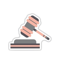 paper sticker on white background gavel vector image