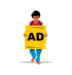 Walking Human Advertising Cartoon vector image