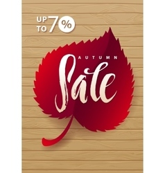 Autumn sale hand lettering burgundy leaf vector