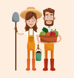 Couple farmers vegetable basket shovel vector