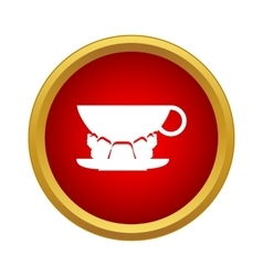 Cup of coffee and croissant icon simple style vector