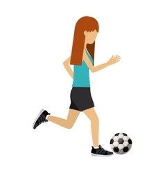 Female athlete practicing football soccer vector
