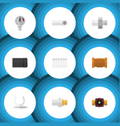 flat icon sanitary set of pipe industry pressure vector image vector image