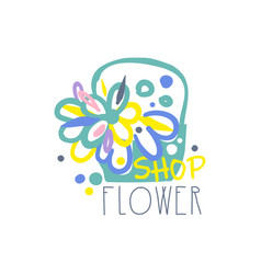 flower shop logo template element for floral vector image vector image