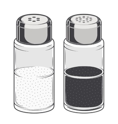 Glass salt and pepper shakers vector image vector image