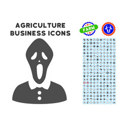 Horror icon with agriculture set vector