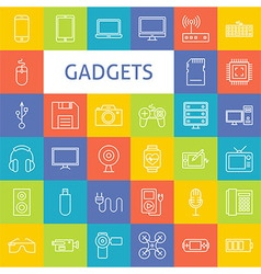 Line Art Electronic Gadgets Icons Set vector image