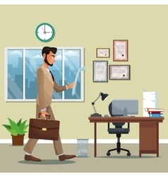 Man business office place desk chair potted plant vector
