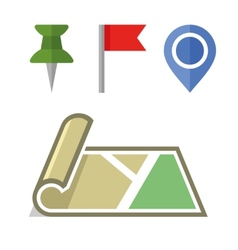 Map Icon with Different Pins Set vector image