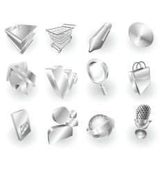 metal metallic web and application icon set vector image vector image