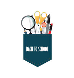 pocket of back to school conceptual with office vector image vector image