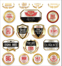 sale retro vintage golden badges and labels 01 vector image