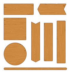 Set of different wooden planks and signs on white vector