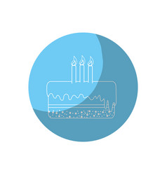 Sticker delicious pastel with candles to happy vector