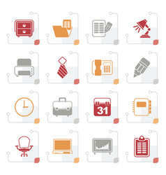 stylized business and office equipment icons vector image vector image