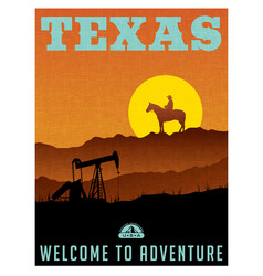 Texas travel poster or sticker vector
