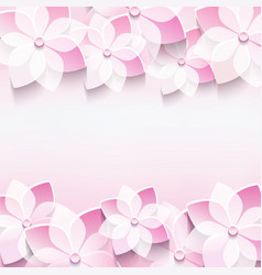 Trendy abstract pink background with 3d sakura vector