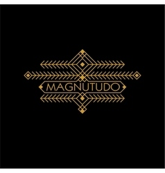 Vintage luxury ethnic art deco monochrome gold vector