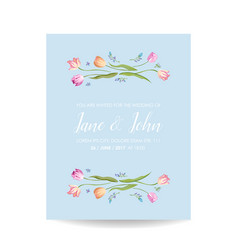 Wedding invitation card with spring tulips flowers vector