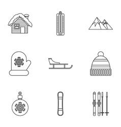 Winter holidays icons set outline style vector image vector image