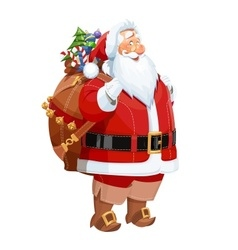Smiling santa claus with gift vector