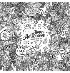 Cartoon cute doodles hand drawn happy halloween vector