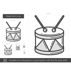 Snare drum line icon vector image
