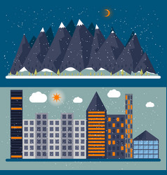 a flat design with city vector image