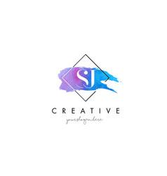 Sj artistic watercolor letter brush logo vector