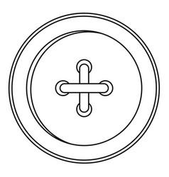 round sewn button icon outline style vector image