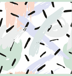Abstract seamless pattern with brush strokes vector