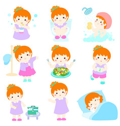 Healthy hygiene for girl cartoon vector