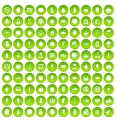 100 vegetables icons set green circle vector