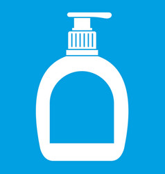Bottle with liquid soap icon white vector