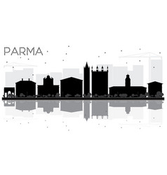 Parma city skyline black and white silhouette vector
