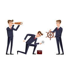 set search business man cartoon vector image