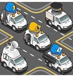 Isometric Workers Trucks vector image