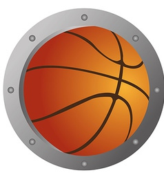 An isolated basketball ball with a metal border vector