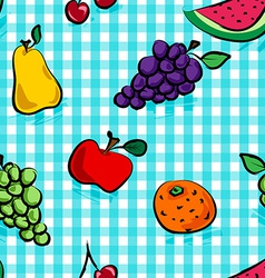 Seamless grungy fruits over light blue gingham vector