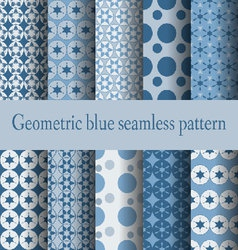 Geometric blue seamless pattern - vector