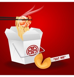 Noodles box with chopsticks and fortune cookie vector