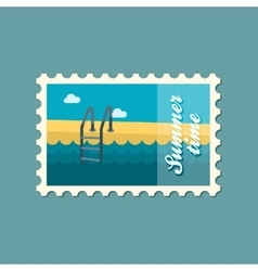Swimming pool flat stamp summertime vector