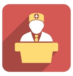 Medical official lecture flat rounded square icon vector