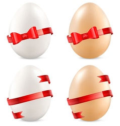 Eggs with red bow vector