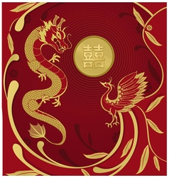 Chinese wedding card invitation vector image