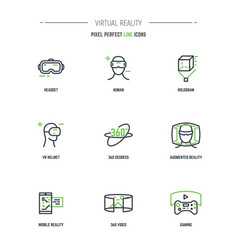 9 vr line icon set vector image